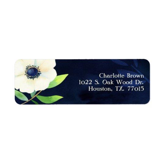 Adresse élégante de mariage de bleu marine étiquette d'adresse retour