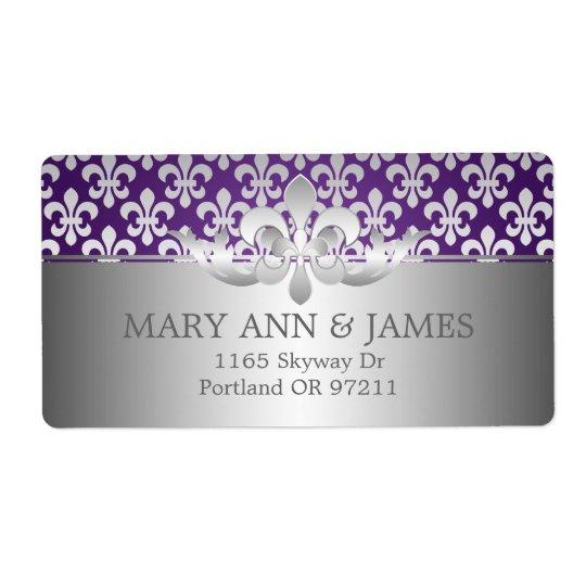 Adresse élégante Fleur De Lis Purple de mariage Étiquette D'expédition