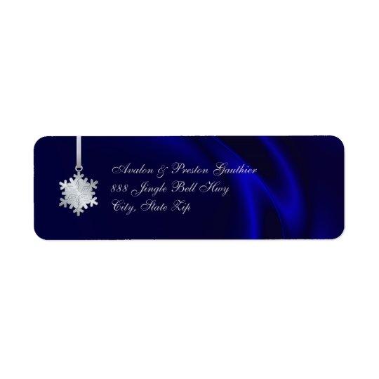 Adresse en soie bleue de vacances de flocon de étiquette d'adresse retour