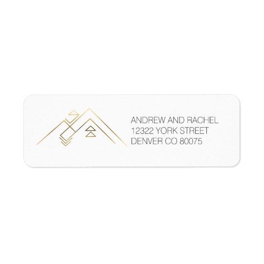 Adresse faite sur commande géométrique de l'or | étiquette d'adresse retour
