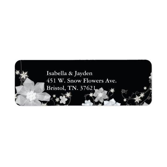 Adresse florale blanche noire de mariage d'hiver étiquette d'adresse retour