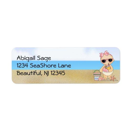 Adresse fraîche de bébé de plage étiquette d'adresse retour