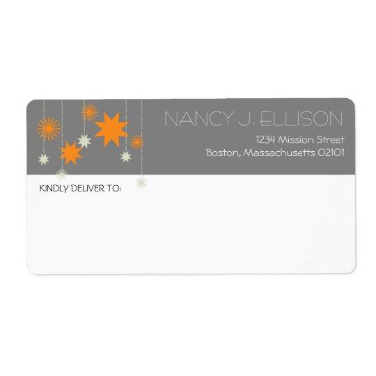 Adresse moderne grise orange d'étincelle de feux d étiquettes d'expédition