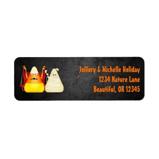 Adresse orange de bonbons au maïs éffrayants étiquette d'adresse retour