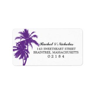 Adresse pourpre du palmier   étiquette d'adresse