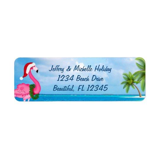 Adresse rose de plage de Noël de flamant de Père Étiquette D'adresse Retour