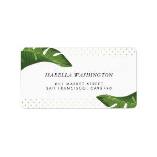 Adresse tropicale de mariage de palmettes chics étiquette d'adresse