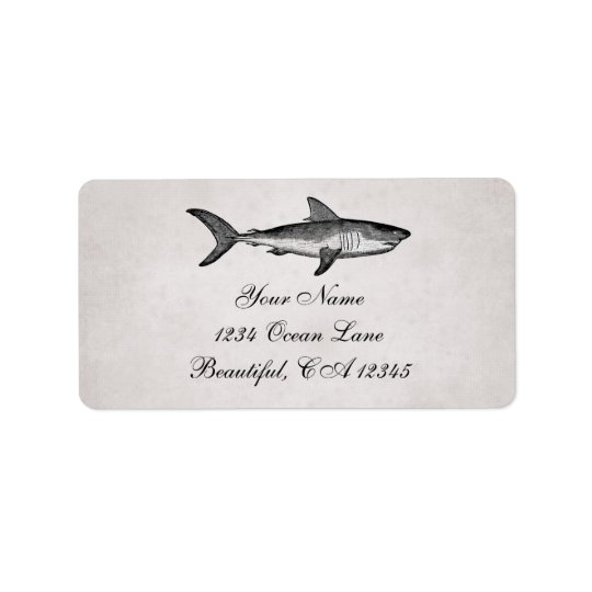 Adresse vintage de plage d'océan de requin étiquette d'adresse