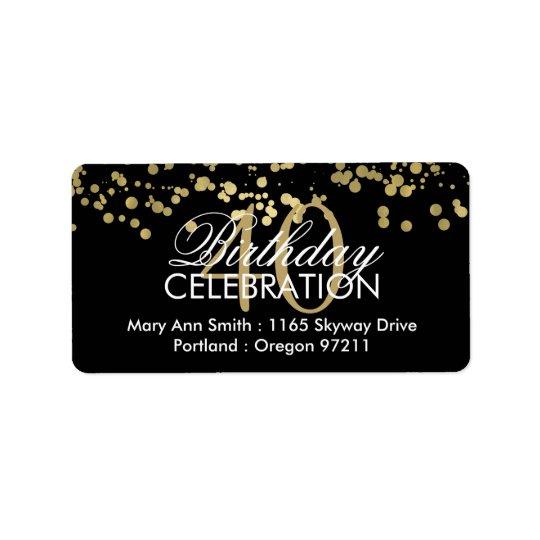 Adressez les quarantième confettis de feuille d'or étiquettes d'adresse