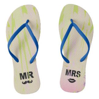 Adulte de monogramme de MR-MRS, bascules minces de Tongs
