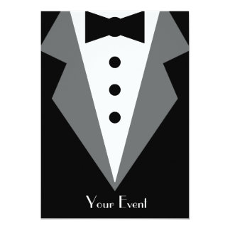 Affaire de cravate noire carton d'invitation  12,7 cm x 17,78 cm