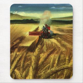 Affaires agricoles vintages, blé cultivant la tapis de souris