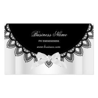 Affaires élégantes de dentelle noire et blanche carte de visite standard