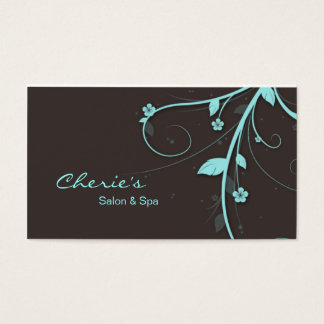 Affaires florales de 311 de turquoise remous de cartes de visite
