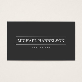 Affaires gris-foncé de vrai agent immobilier cartes de visite