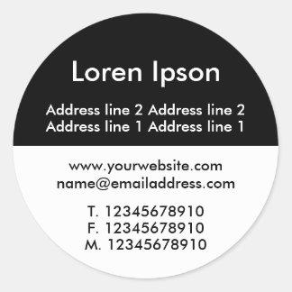 Affaires II noires et blanches/profil de deux tons Sticker Rond