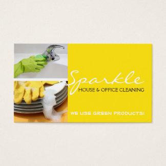 Affaires propres jaunes de décapants de nettoyage cartes de visite