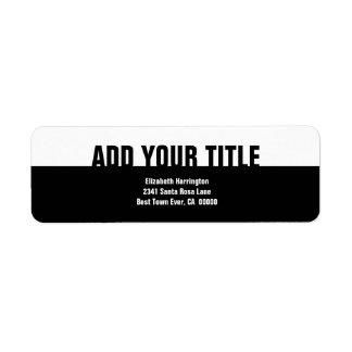 Affaires simples modernes blanches noires V3 Étiquette D'adresse Retour
