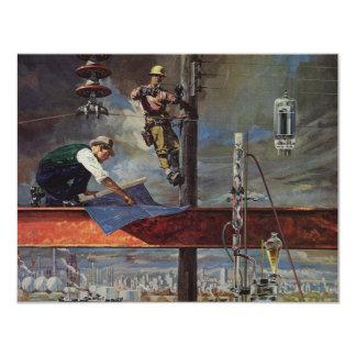 Affaires vintages, architectes et construction carton d'invitation 10,79 cm x 13,97 cm