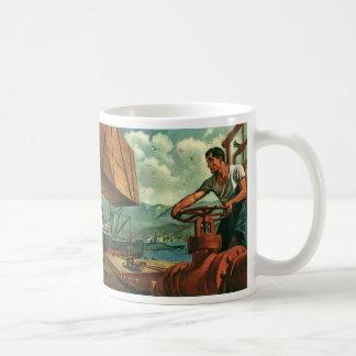 Affaires vintages, bateau de pétrolier avec le mug