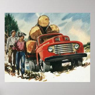 Affaires vintages, camion de notation avec des poster