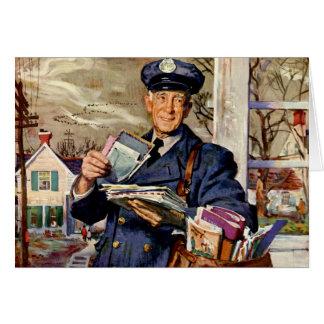Affaires vintages, facteur fournissant des lettres carte de vœux