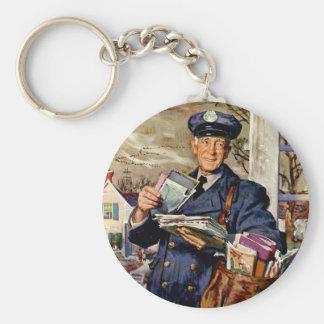 Affaires vintages, facteur fournissant des lettres porte-clé rond