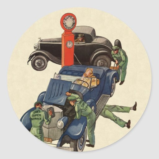 Affaires vintages, station service du service autocollant rond