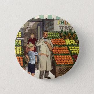 Affaires vintages, support de fruit avec l'épicier badges
