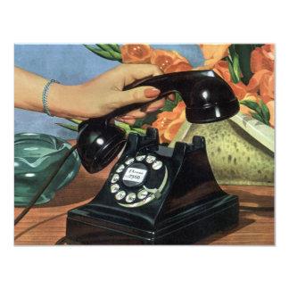 Affaires vintages, téléphone antique avec le carton d'invitation 10,79 cm x 13,97 cm