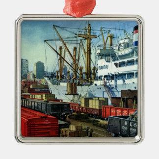 Affaires vintages, transport accouplé de cargo ornement carré argenté