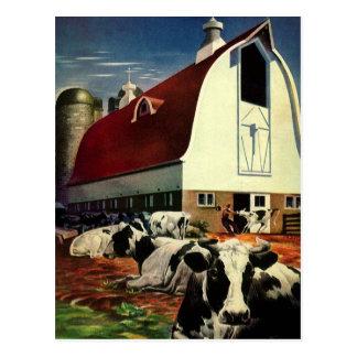 Affaires vintages, vaches à lait de l'exploitation carte postale