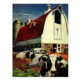 Affaires vintages, vaches à lait du Holstein à Carte Postale