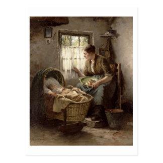 Affection maternelle (huile sur la toile) carte postale