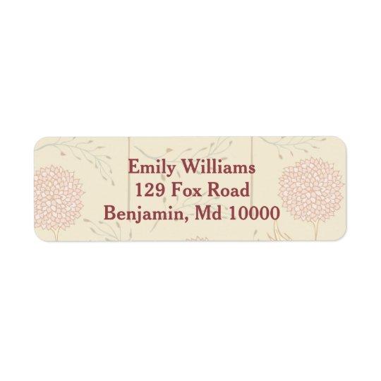 Affichage floral rouge étiquettes d'adresse retour