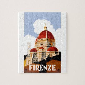 Affiche 1930 de voyage de Duomo de Florence Italie Puzzle