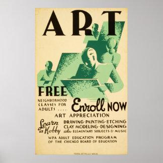 Affiche 1936 vintage de Libres WPA de dard de Posters