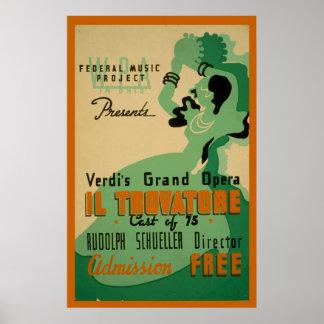 Affiche 1937 de WPA de cru de Verdi IL Trovatore Posters