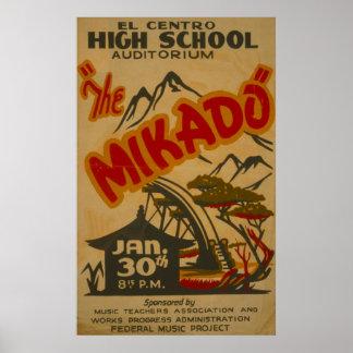 Affiche 1938 de WPA de cru de Mikado Philarmonic Posters