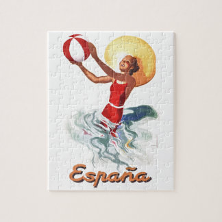 Affiche 1940 de voyage de plage de l'Espagne Puzzle