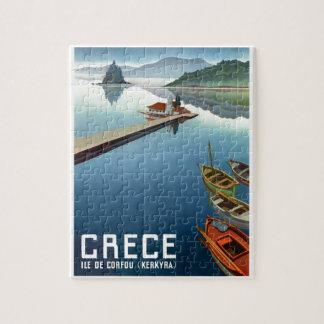 Affiche 1949 de voyage de Corfou Grèce Puzzle