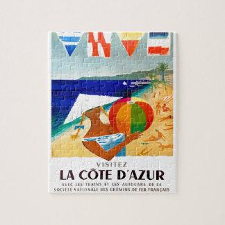 Affiche 1957 de voyage de Français de Cote d'Azur Puzzle