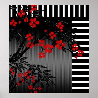 Affiche 4 floraux en bambou blancs noirs rouges as posters