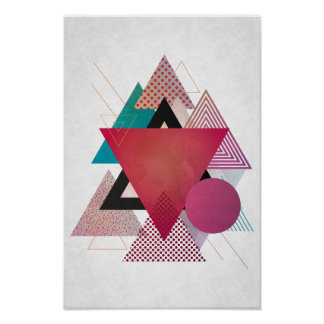 Affiche abstraite colorée de triangles posters