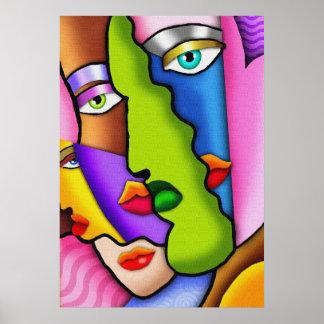 Affiche abstraite de visages de Deco belle