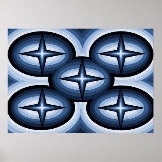 Affiche abstraite d'étoile bleue