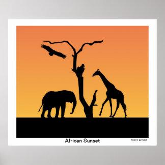 Affiche africaine de silhouette de coucher du sole