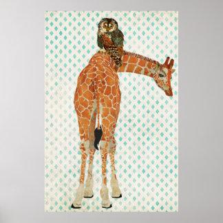Affiche ambre d art de girafe et de hibou de Teal