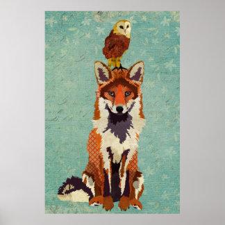 Affiche ambre d'art de Fox et de hibou