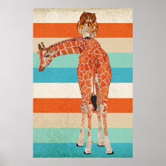 Affiche ambre d'art de girafe et de hibou